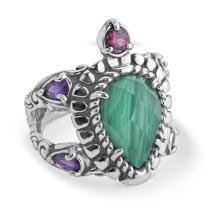 Carolyn Pollack Sterling Silver Amethyst, Garnet and Malachite Gemstone Turtle Ring Size 05 to 10