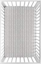 Sweet Jojo Designs Grey White Boho Herringbone Arrow Baby Unisex Boy Girl Baby Nursery Fitted Mini Portable Crib Sheet for Gray Woodland Forest Friends Collection for Mini Crib or Pack and Play ONLY