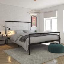 REALROOMS Calixa Modern Metal Platform Bed Frame, Industrial Minimalist Design with Headboard, Full, Black