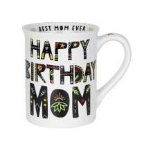 Enesco Our Name is Mud Happy Birthday Mom Cuppa Doodle Coffee Mug, 16 oz, White