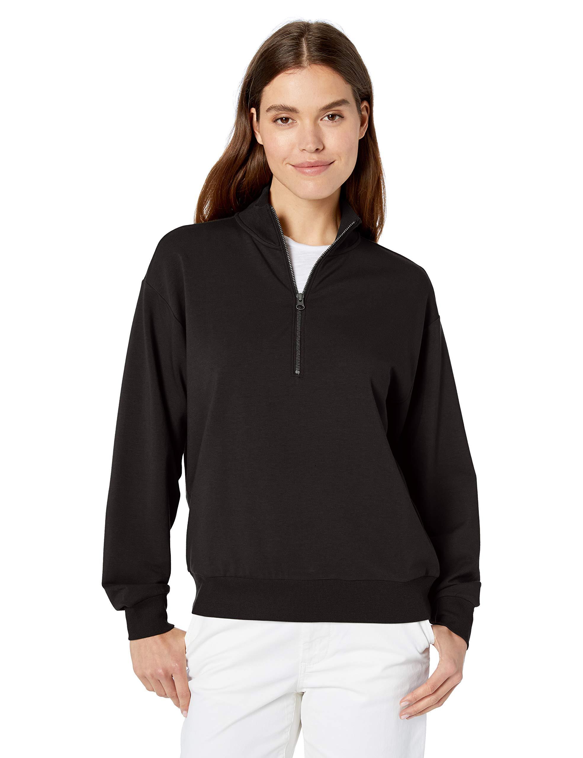 Amazon Brand - Terry Cotton & Modal Quarter-Zip Sweatshirt and Crop Jogger Set
