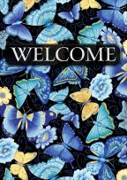 "Toland Home Garden 1112002 Blue Butterfly Welcome 12.5 x 18 Inch Decorative, Garden Flag (12.5"" x 18"")"