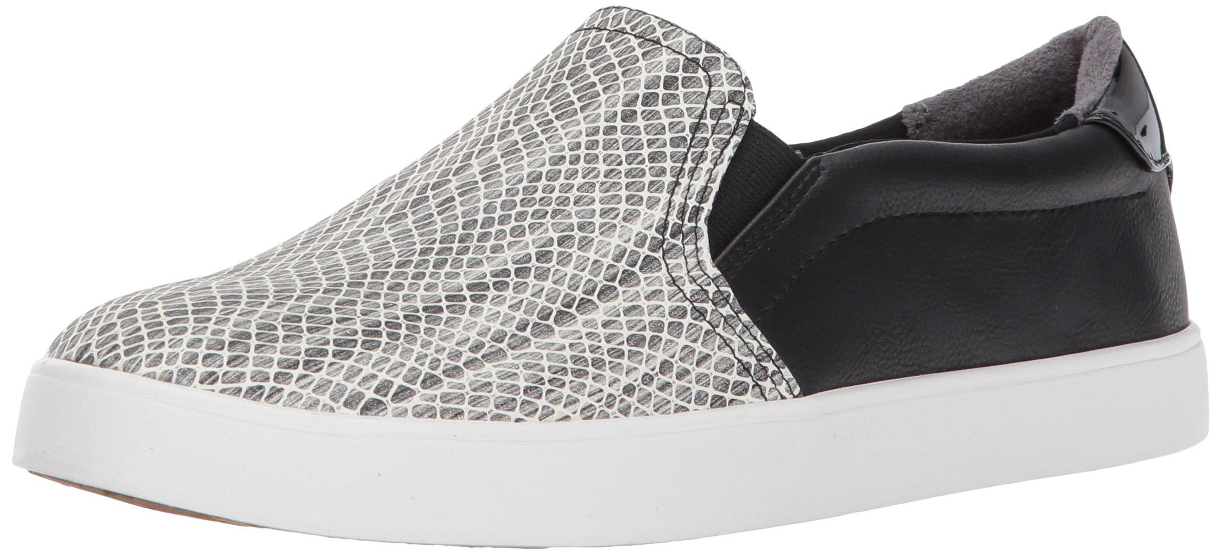 Dr. Scholl's Shoes Women's Snake Print Fashion Sneaker, Black/White, 6