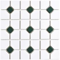 "SomerTile FKOOX603 Newcastle Porcelain Floor and Wall Tile, 11.5"" x 11.5"", Matte White with Glossy Green Dot"