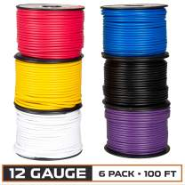 12 Gauge Primary Wire - 6 Roll Assortment Pack - 100 Ft of Copper Clad Aluminum Wire per Roll