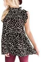 Avanova Women's Ruffle Sleeve Leopard Printed Babydoll Blouse Tops Casual T Shirt