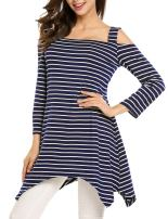 Zeagoo Women's Casual 3/4 Sleeve Tunic Top Cold Shoulder Striped Loose T-Shirt Mini Dress