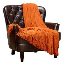 Chanasya Textured Knitted Super Soft Throw Blanket with Tassels Cozy Plush Lightweight Fluffy Woven Blanket for Bed Sofa Chair Couch Cover Living Bed Room Orange Throw Blanket (50x65 Inches) Orange