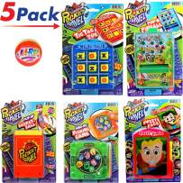 Pocket Games Kid Travel Toys Bundle Set (3 Games) Pocket Pinball, Finger Basketball, Magnetic Fishing, Magnetic Fizzy Face & Tic Tac Toe. Fidgets, Party Favors, Stress Toys. 3255-3258-3257-3205-3256p