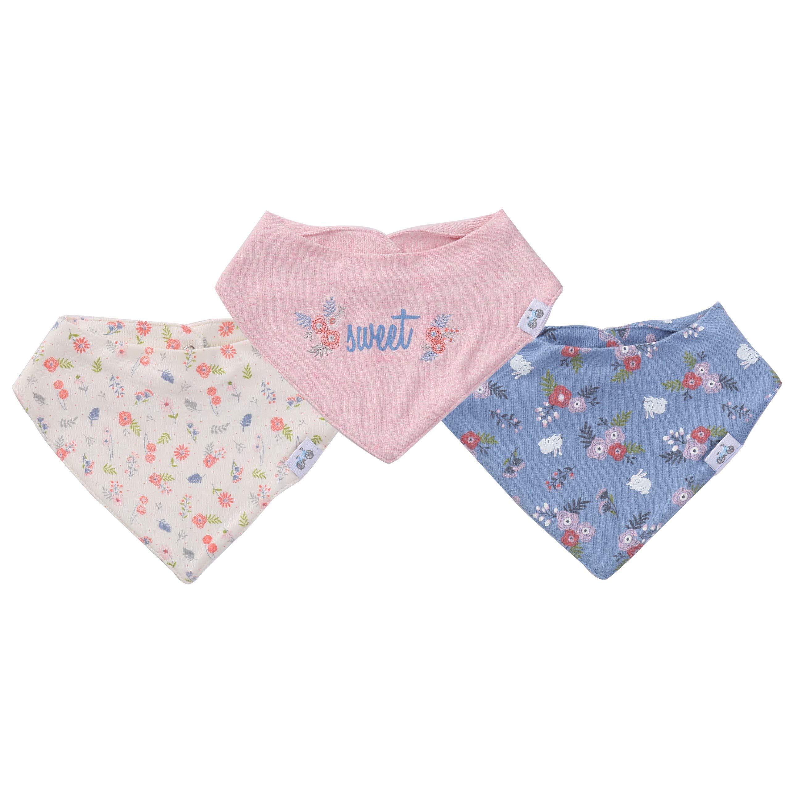 Bandana Drool Girls Bibs – 3 Pc Infant and Newborn Burp Drool Bib Shower Gifts