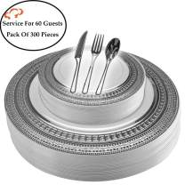 Tiger Chef Plastic Dinnerware 300 Piece Set Service For 60 Guests Includes 60 10.75-inch Dinner Plates 60 7-inch Salad Plates 6 Cutlery Sets Forks, Spoons, And Knives Disposable BPA Free