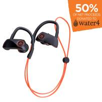 EcoSurvivor IPX7 Bluetooth Waterproof Earbuds, Flexible Ear Loops, Up to 10 Hours of Playtime, in-Bud Controller, Smartphone, Tablet, Laptop, Outdoors, 50% Charity Give Back, Black, 43682