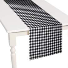 GuildreyTex Gingham Table Runner, Machine Washable, Non-Wrinkle, Fashions Farmhouse Living Black & White Checker Home Decorative, 14 X 72 Inch