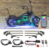LEDGlow 6pc Bluetooth Advanced Million Color LED Motorcycle Accent Underlow Lighting Kit - Smartphone App - Dual Zone & Brake Lights Feature - Waterproof Control Box - Multi-Color Flexible Strips