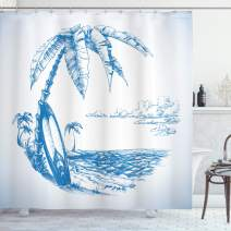 "Ambesonne Surf Shower Curtain, Contemporary Sketch Illustration Hawaiian Beach with Surfboard Palms and Ocean Water, Cloth Fabric Bathroom Decor Set with Hooks, 70"" Long, Blue and White"