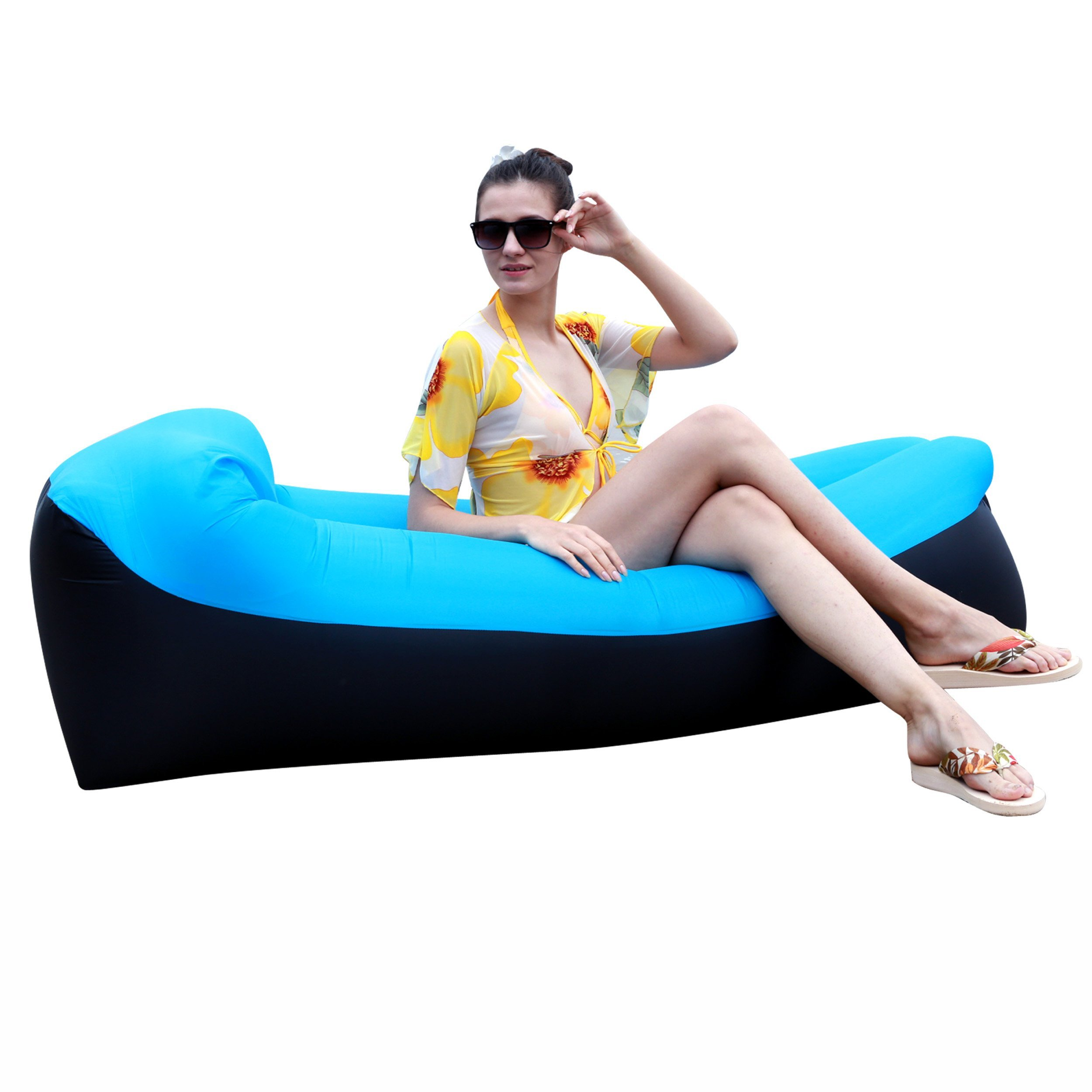 Inflatable Lounger Air Sofa Chair with U-shape neck pillow and handy storage bag for Camping&Hiking & Swimming pool to use as mattress (outdoor&indoor) (Blue Lounger)