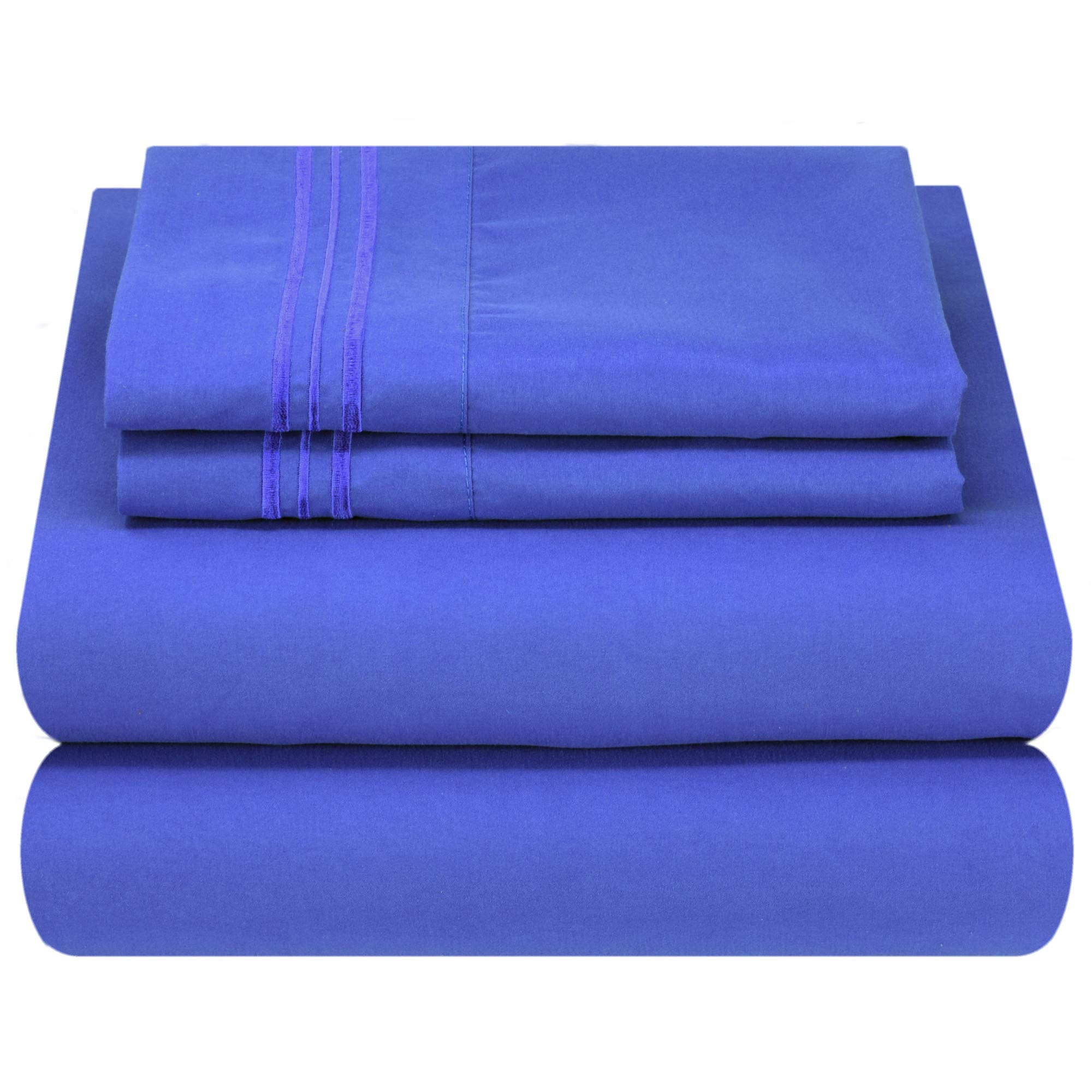 Mezzati Luxury Bed Sheet Set - Soft and Comfortable 1800 Prestige Collection - Brushed Microfiber Bedding (Royal Blue, King Size)