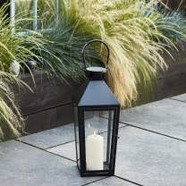 Lights4fun, Inc. Large Black Metal Battery Operated LED Flameless Candle Lantern for Indoor Outdoor Use