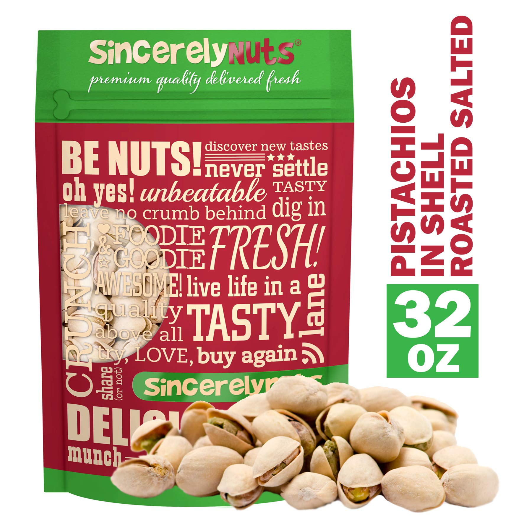 Sincerely Nuts Large Pistachios Roasted & Salted in Shell - 2Lb. Bag | Healthy Snack Food | Great for Cooking | Source of Fiber, Protein, Vitamins & Minerals | Gourmet Flavor | Kosher & Gluten Free
