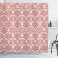 "Lunarable Dusty Rose Shower Curtain, Antique Damask Motifs Ornate Victorian Feminine Pattern Old Fashioned Revival, Cloth Fabric Bathroom Decor Set with Hooks, 70"" Long, Beige Rose"