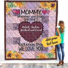 VTH Global Personalized Custom Kids Children Names Mom Mother Touch Heart Mothers Day Quilt Fleece Throw Blanket Twin Queen Size Tapestry Wall Hanging