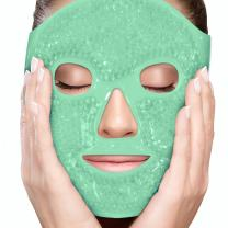 PerfeCore Facial Mask - Get Rid of Puffy Eyes - Migraine Relief, Sleeping, Travel Therapeutic Hot Cold Compress Pack - Gel Beads, Spa Therapy Wrap for Sinus Pressure Face Puffiness Headaches - Green