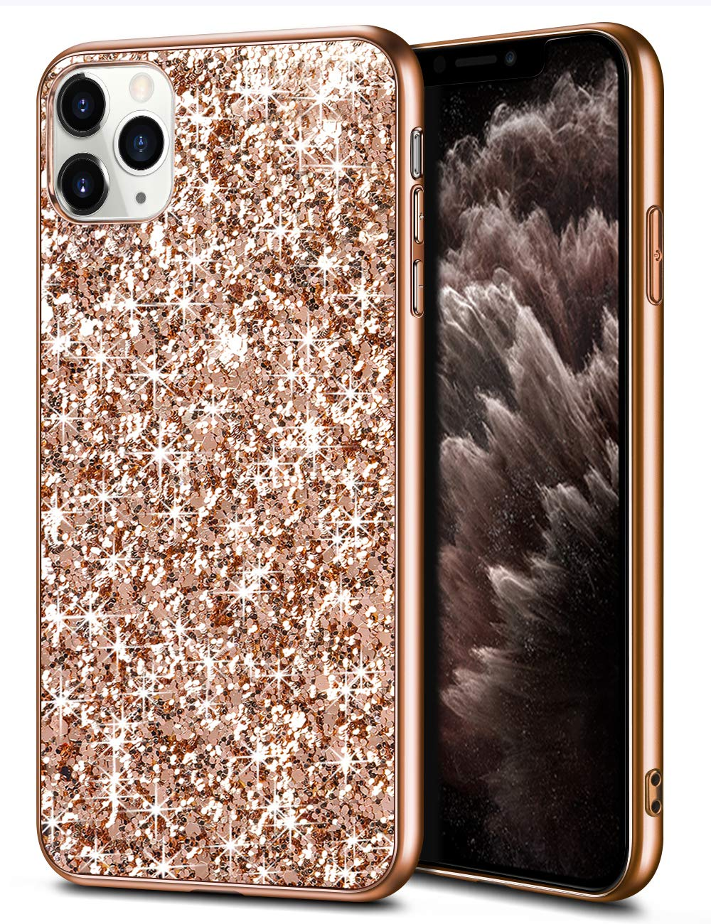 WOLLONY iPhone 11 Pro Max Case Glitter Sparkle Bling Shiny Cover for Girl Ultra Slim Durable Hybrid TPU Shockproof Bumper Hard Anti-Slip Back Protective Cover for iPhone 11 Pro Max 6.5inch Rose Gold