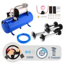 OppsDecor 12V 150DB Car Air Horn Kit, 4 Trumpet Train Vehicle Air Horn with 120PSI Air Compressor for All Kinds of Vehicle, Truck, Car, Jeep or SUV (Blue)