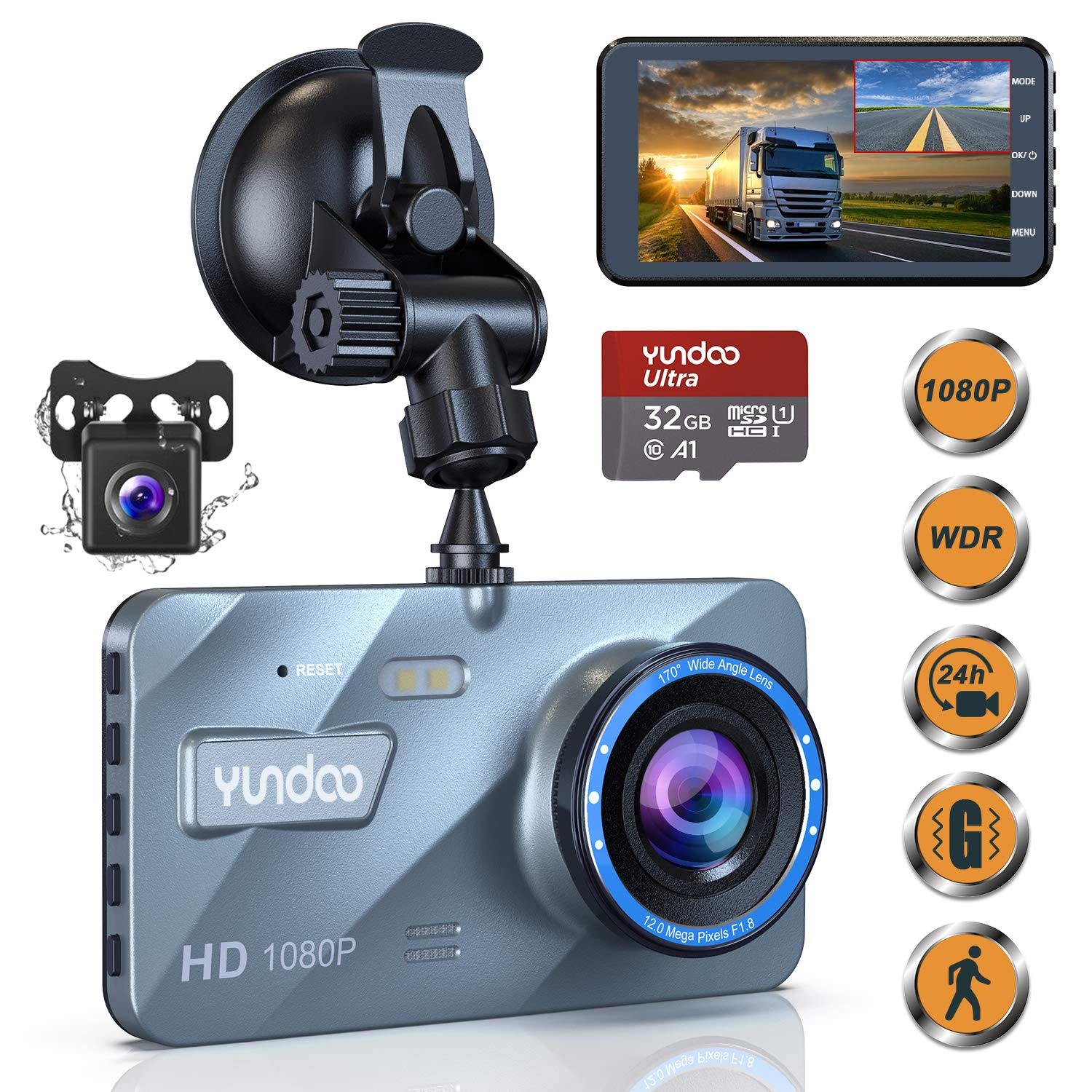 Dual Dash Cam, Contain 32GB SD Card, Full HD 1080P 4 Inch IPS Screen Car Camera for Cars, Equipped with 170°Wide Angle, G-Sensor, Cycle Recording and Parking Monitoring (2020 Upgraded Version)