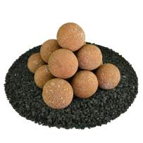Ceramic Fire Balls | Set of 14 | Modern Accessory for Indoor and Outdoor Fire Pits or Fireplaces – Brushed Concrete Look | Burnt Orange, Speckled, 4 Inch