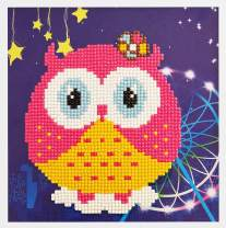 Bestlus 5D DIY Diamond Painting Kits for Kids Partial Drill by Number Kits Crystal Rhinestones Embroidery Cross Stitch for Home Wall Decor (Owl-Pink, 7.5x7.5inch)