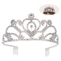 ANBALA Tiara Crowns Rhinestone Crystal Queen Tiara Headband with Side Comb Wedding Pageant Crowns Princess Crown for Women