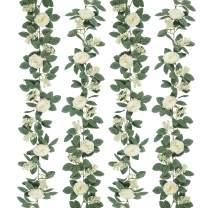 SHACOS Artificial Rose Vines Garlands Set of 2 Seeded Greenery Leaves Rose Flower Hanging Rose Floral Garlands Home Wedding Party Decor (Cream White, 2)