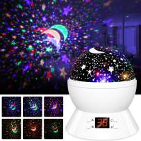 Star Projector, Night Lights for Kids- LBell Rotating Cosmos Star Sky Night Lamp with Timer, Christmas Gift for Kids Girls Boys and Baby (White)