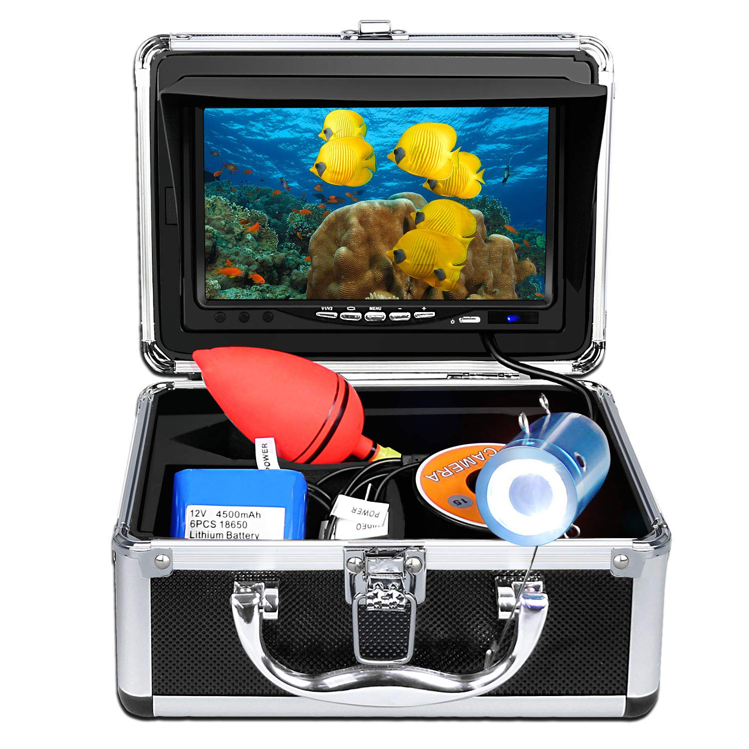 """Anysun Underwater Fish Finder - Professional Fishing Video Camera with 7"""" TFT Color LCD HD Monitor 700TVL, CCD 15M Cable Length with Carry Case - Fun to See Fish Biting"""