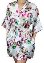 Ms Lovely Women's Floral Satin Bridesmaid Robe Short Kimono W/Pockets for Bridal Party
