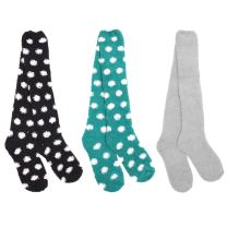Super Soft Warm Microfiber Fuzzy Knee High Polka Dots Socks - 3 Pair/6 Pair - Value Pack