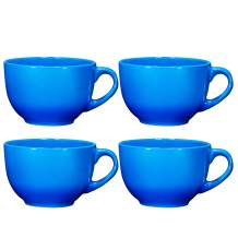 Jumbo Coffee and Cereal Set of 4 Wide Ceramic Mug , 24 Ounce, Multi Purpose Wide Mug for Soup, Cappuccino, Latte Coffee,Tea, Cereal Bowl, Ice Cream Dessert Bowl, Gradient Blue