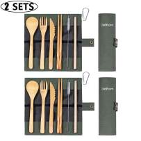 Delihom 2 Set Bamboo Utensils Set Travel Utensils for Kids and Adults Outdoor Eco-Friendly Cutlery Set Reusable Utensils with Case
