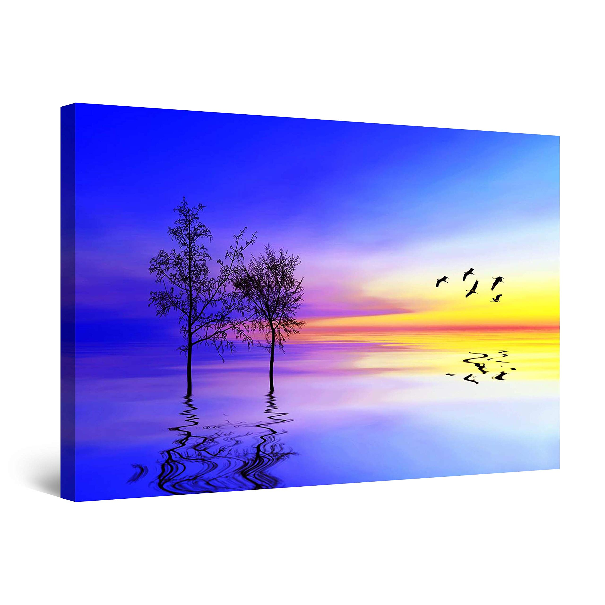 """Startonight Canvas Wall Art Surreal Blue Landscape Water, Tree and Sunset Painting Framed 32"""" x 48"""""""