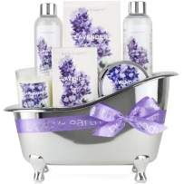 Spa Gifts for Women,Body & Earth Lavender Scented, Gifts Set for Women,7 Pcs Spa Gift with Shower Gel, Bubble Bath, Bath Salts,Body Lotion, Scented Candle, Best Gift for Her