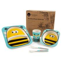 Bamboo Kids Plates and Bowls Sets, Non Toxic & Eco Friendly, 5 Pcs Includes Toddler Plate Set of Plate, Bowl, Cup, Spoon & Fork, Cute Animal Designs, FDA Approved, Dishwasher Safe (Yellow Bee)