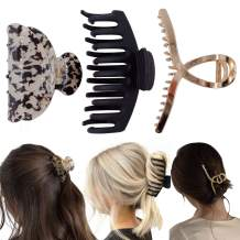 Hair Claw Clips,Big Hairclips for Thick Hair with 3 Vaired Styles,Banana Claw for Women and Girls,Strong Hold Claw suitable for Different Outfit(Black,Gold and Ivory)