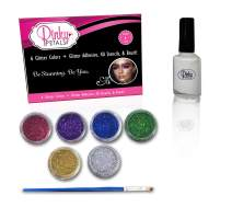 Glitter with Glitter Glue and 40 Stencils for Face and Body Paint - 6 Colors, Long-Lasting and Waterproof