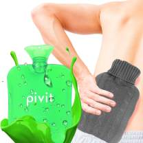 Pivit Hot Water Bottle with Cover | Heat Up & Refreezable Cold Pack Rubber Compress | XL Portable, Reusable, Reheatable & Transparent Ice Bag | Therapy Heating Pad Warmer | Warming Pain Relief (Green)