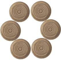 Topotdor Round Placemats Heat-Resistant Stain Resistant Anti-Skid Washable Polyproplene Table Mats Placemats (Coffee, Set of 6)