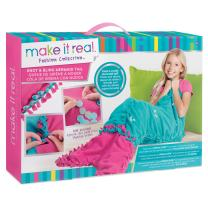 Make It Real – Knot & Bling Mermaid Tail Blanket. Educational DIY Arts and Crafts Kit Guides Kids to Create a Knotted Fleece & Sequin Mermaid Tail Wearable Blanket