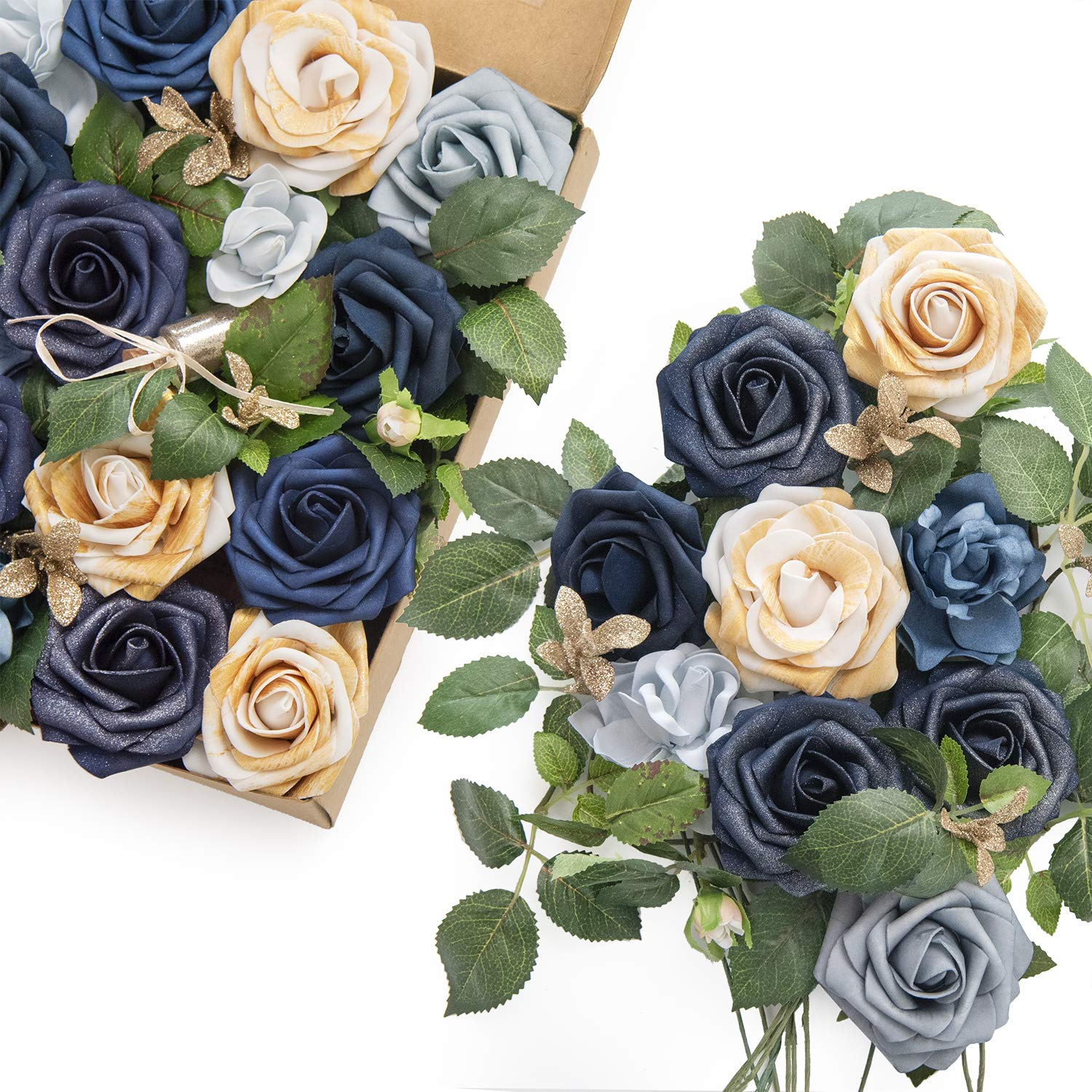 Ling's moment Artificial Flowers Midnight Blue Combo for DIY Wedding Bouquets Centerpieces Arrangements Party Baby Shower Home Decorations