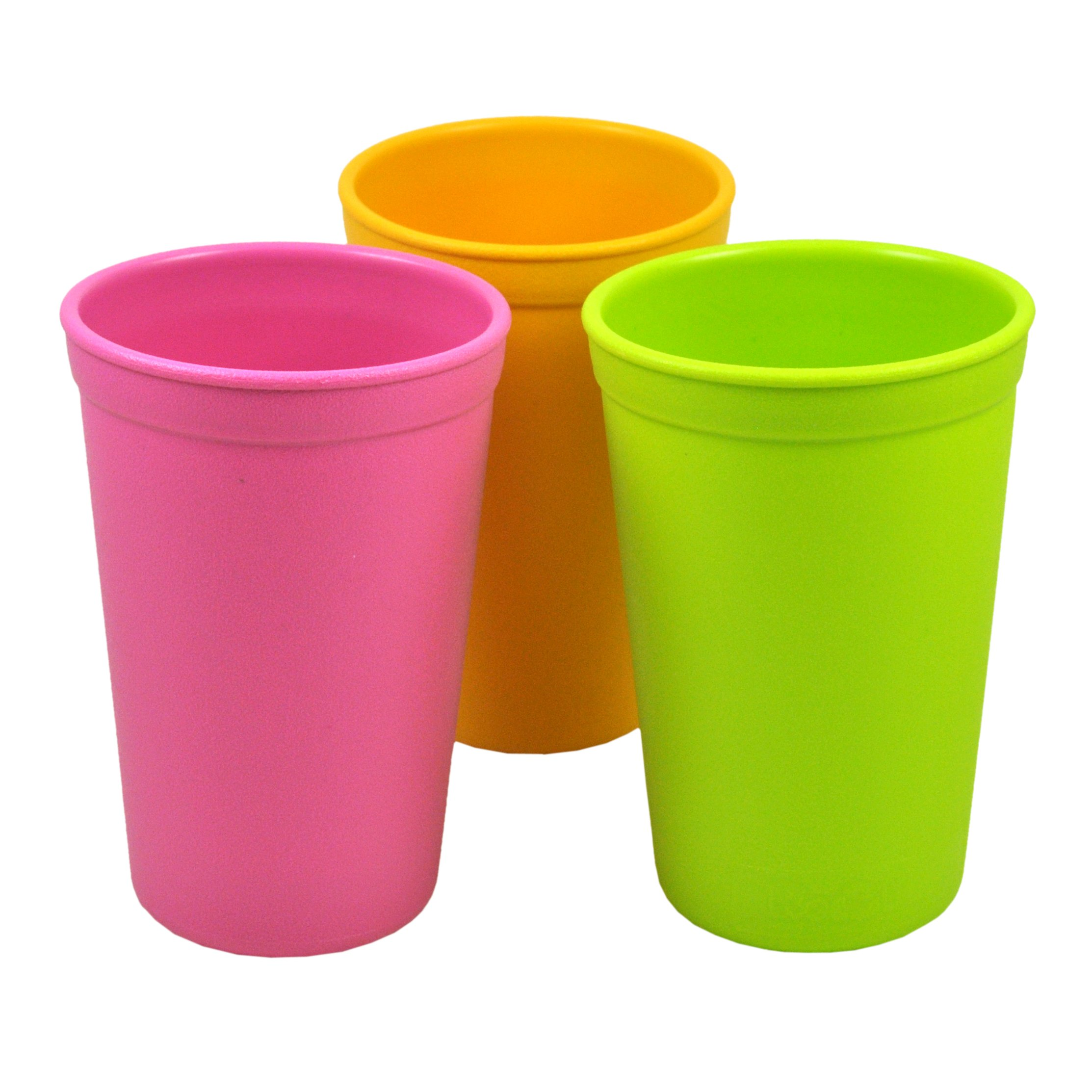 Re-Play 3pk - 9oz. Drinking Cups | Made in USA from Eco Friendly Heavyweight Recycled Milk Jugs - Virtually Indestructible | For all ages | Bright Pink, Sunny Yellow, Lime Green | Pink Asst.