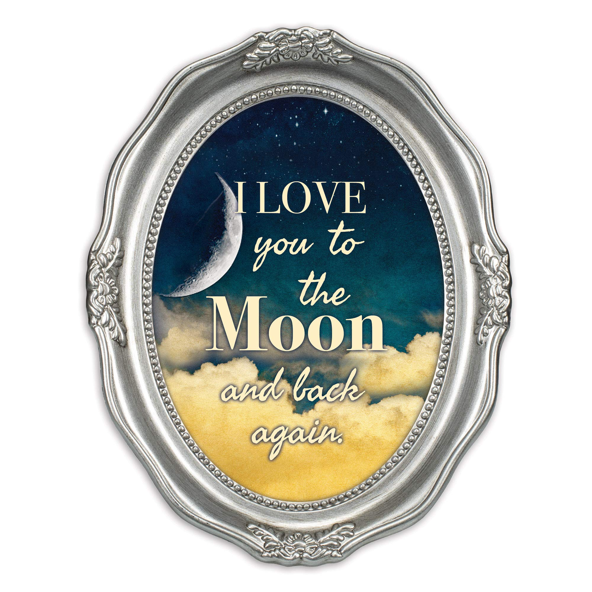 Cottage Garden I Love You to The Moon and Back Brushed Silver Wavy 5 x 7 Oval Table and Wall Photo Frame